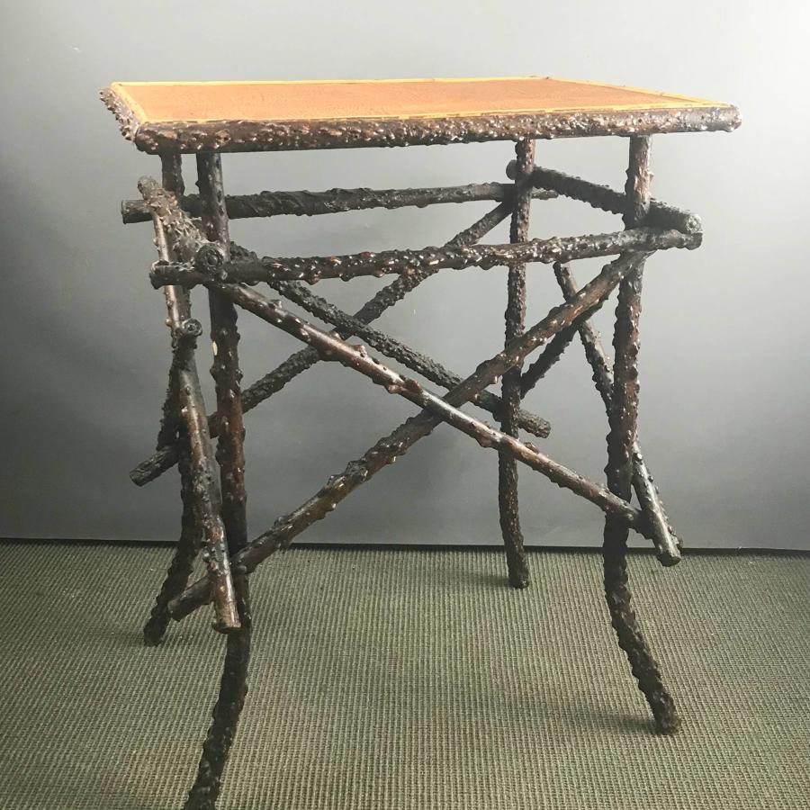 Unusual Winged Elm Folk Art Twig Table