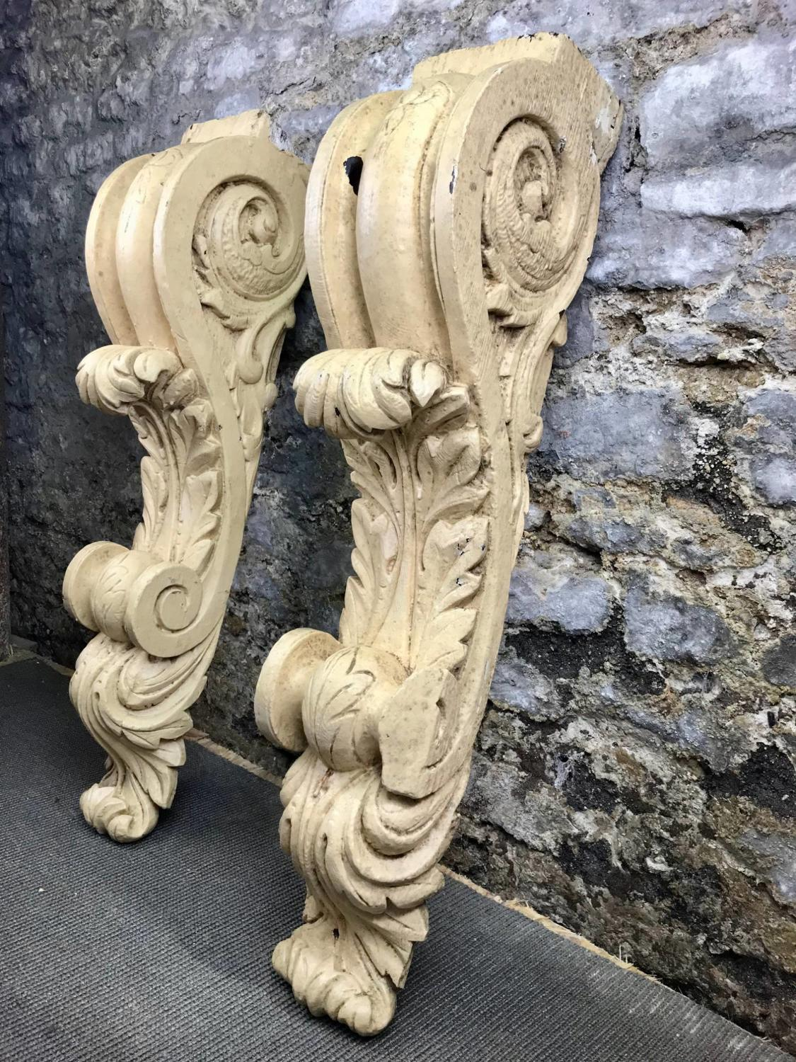 Large Pair of Antique Carved Pine Corbels