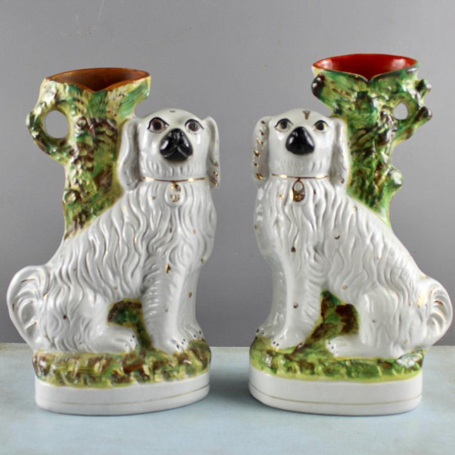 Pair of Staffordshire Spaniel Spill Vases