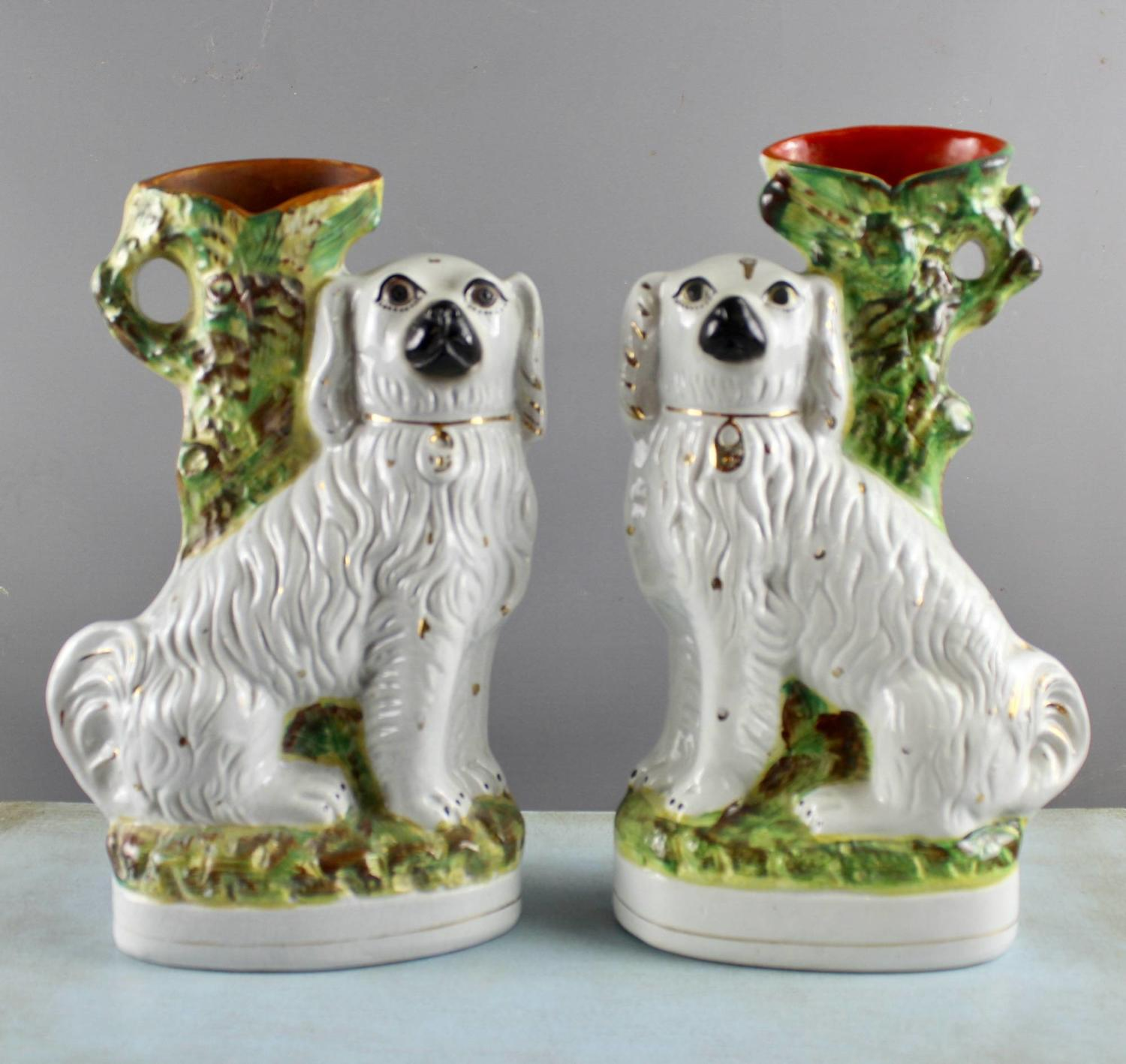 Pair of Staffordshire Spaniel Spill Vases