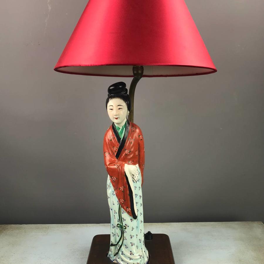 Chinese Porcelain Bijin  Figural Lamp