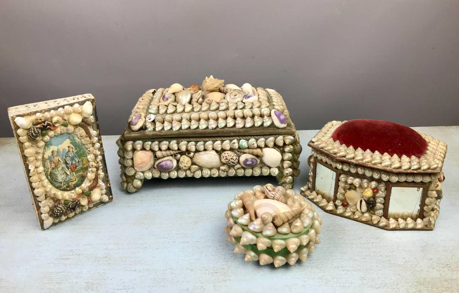Collection of Shellwork Boxes / Needlework Accessories