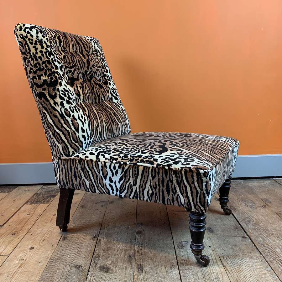 Victorian Occasional Chair in Ocelot Velvet