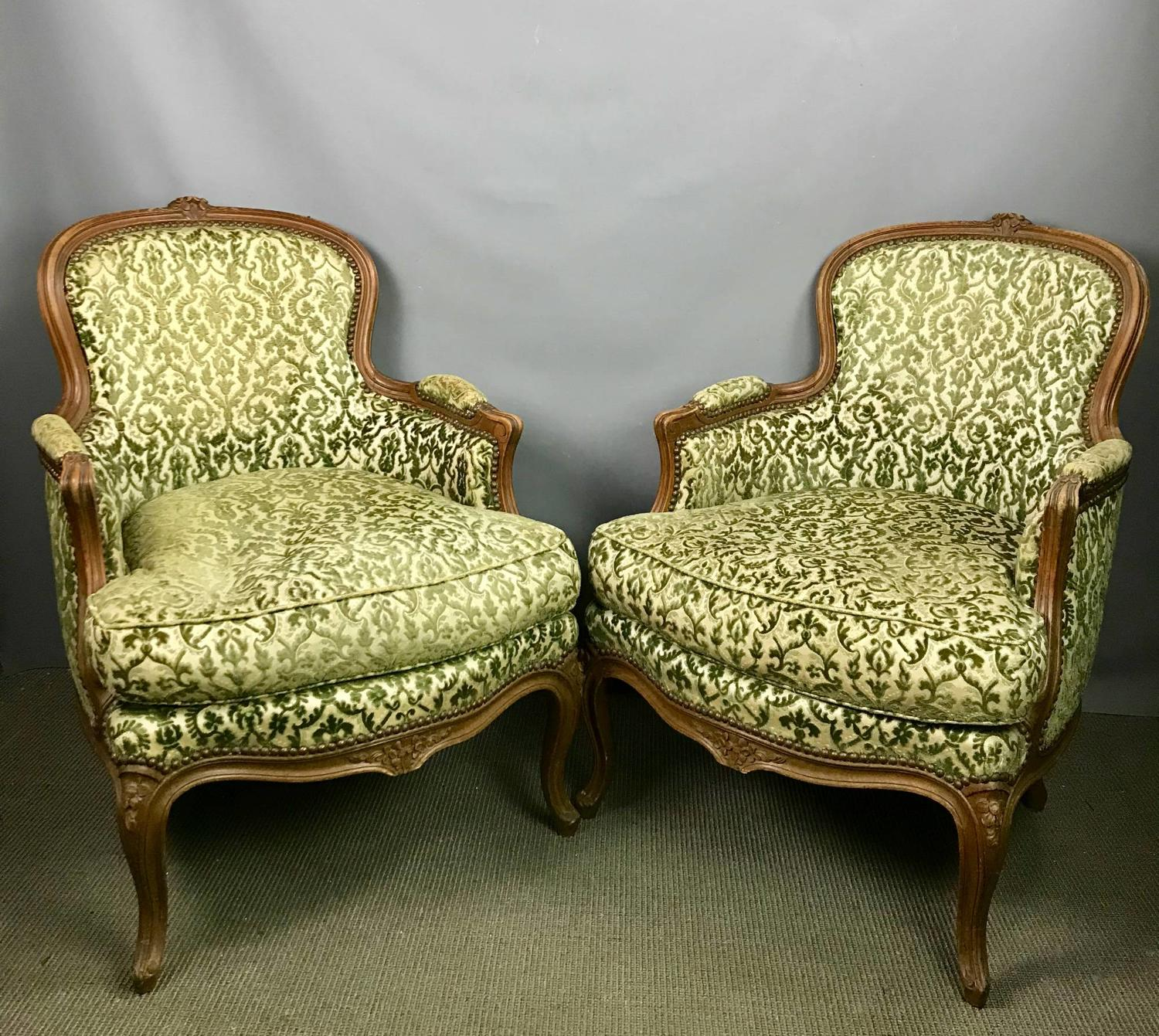 Pair of French Walnut Bergere Armchairs