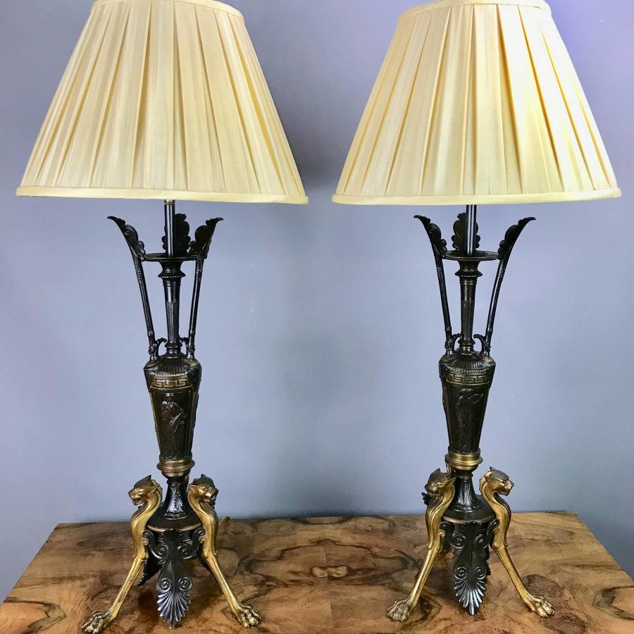 Pair of Bronze Neo-Classical Lamps