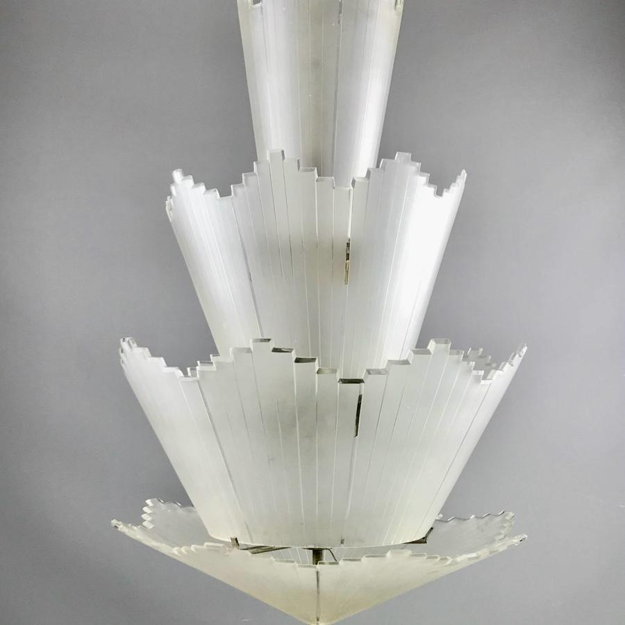 Unusual French Art Deco Frosted Glass Ceiling Light