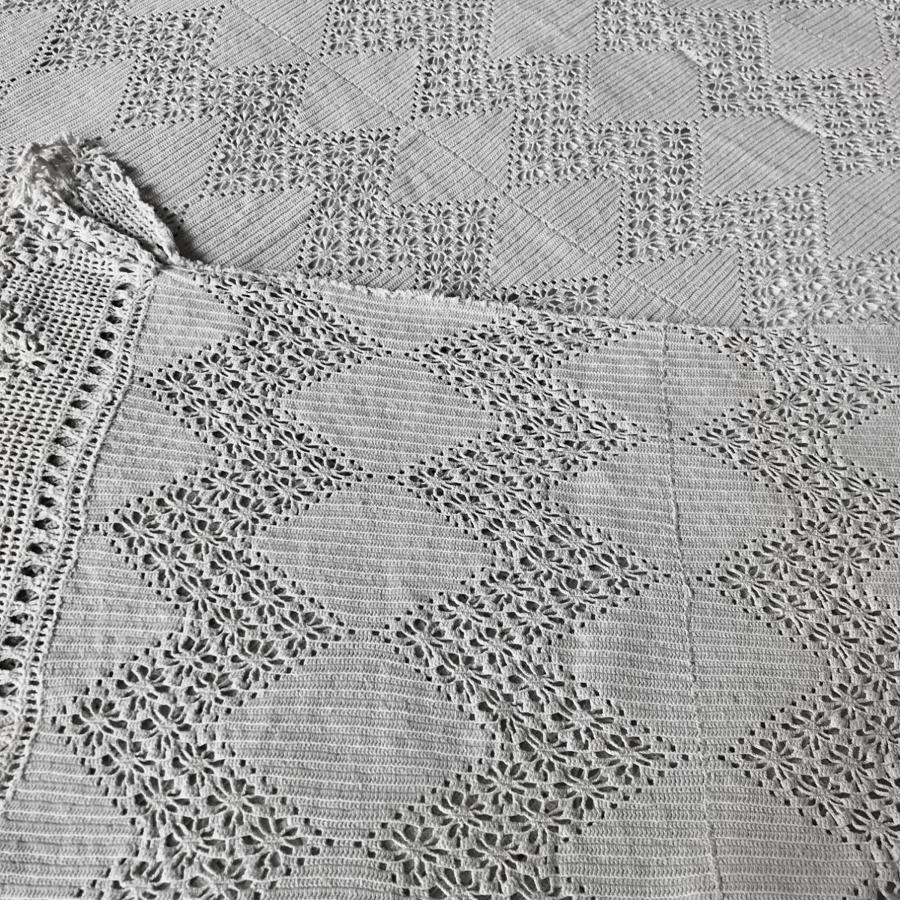 Vintage French Hand Crochet Bed Cover