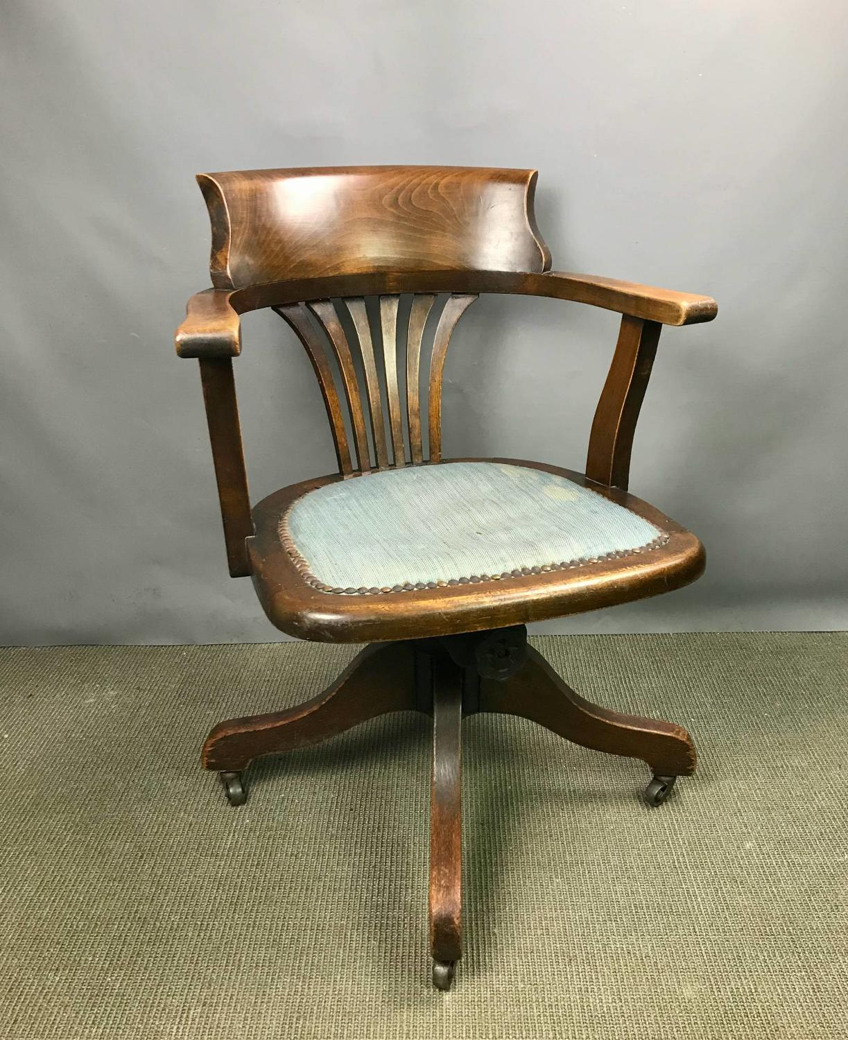 Edwardian Oak Swivel Office Chair