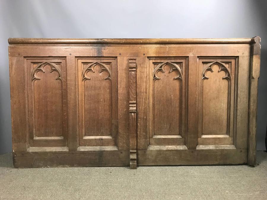 Victorian Gothic Oak Pew Front / Panel