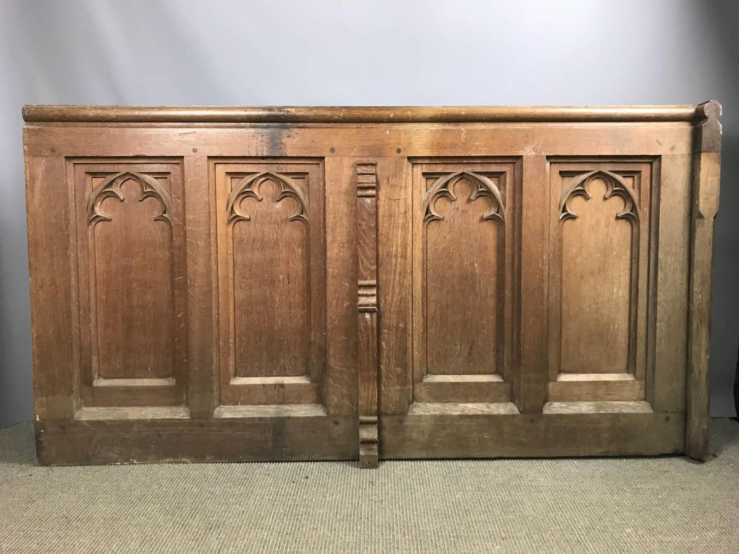 Victorian Gothic Oak Pew Front / Panel