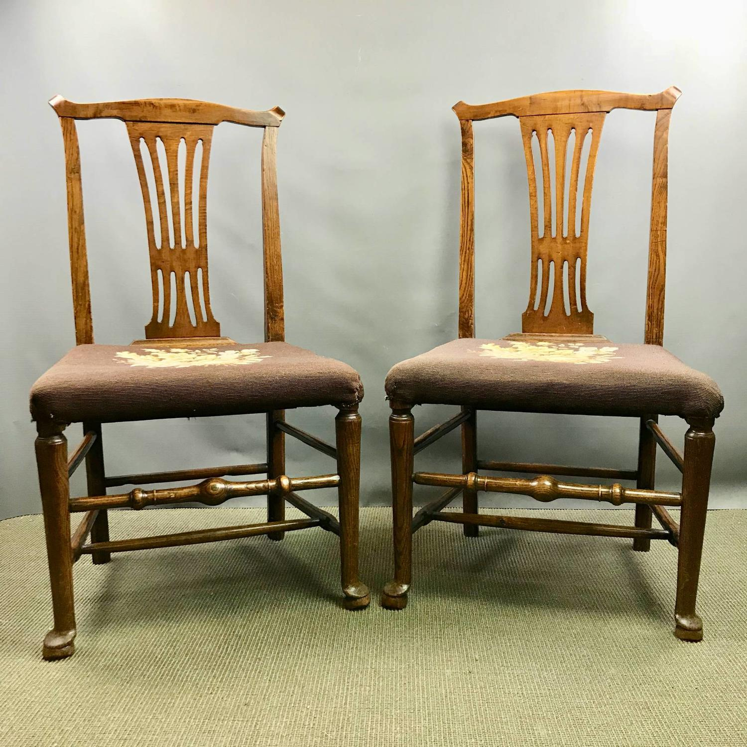 Pair of Country Georgian Oak Chairs