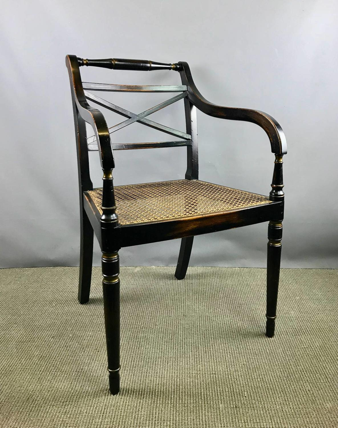 Regency Style Ebonised Elbow Chair