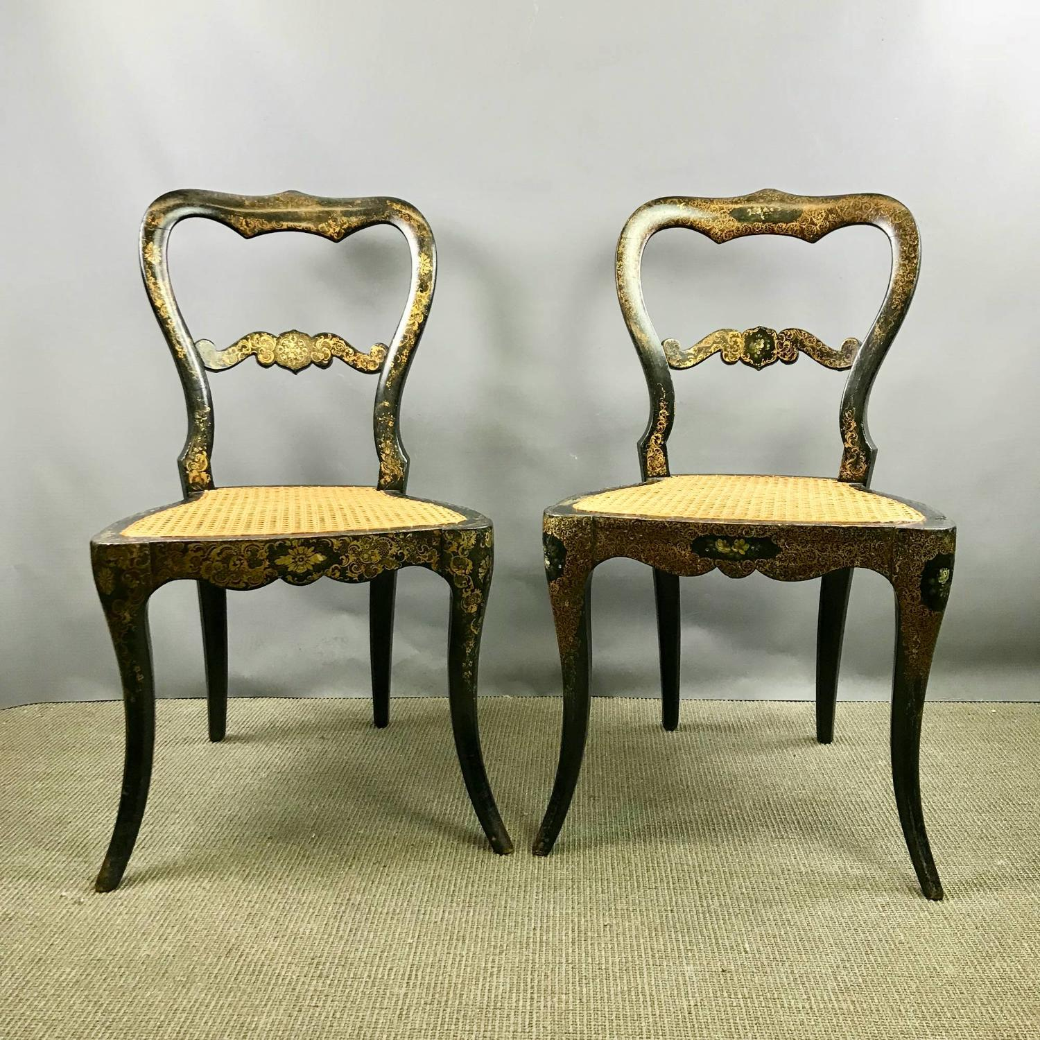 Pair of Victorian Gilt Decorated Japanned Chairs