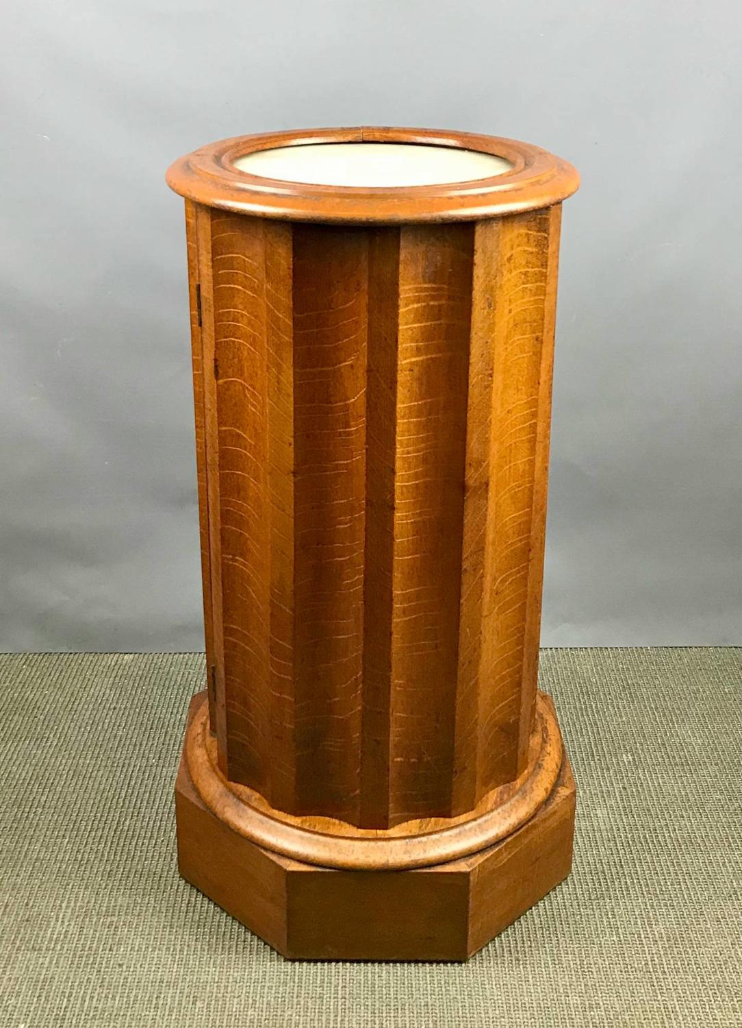 Victorian Oak Fluted Cylindrical Pedestal Pot Cupboard