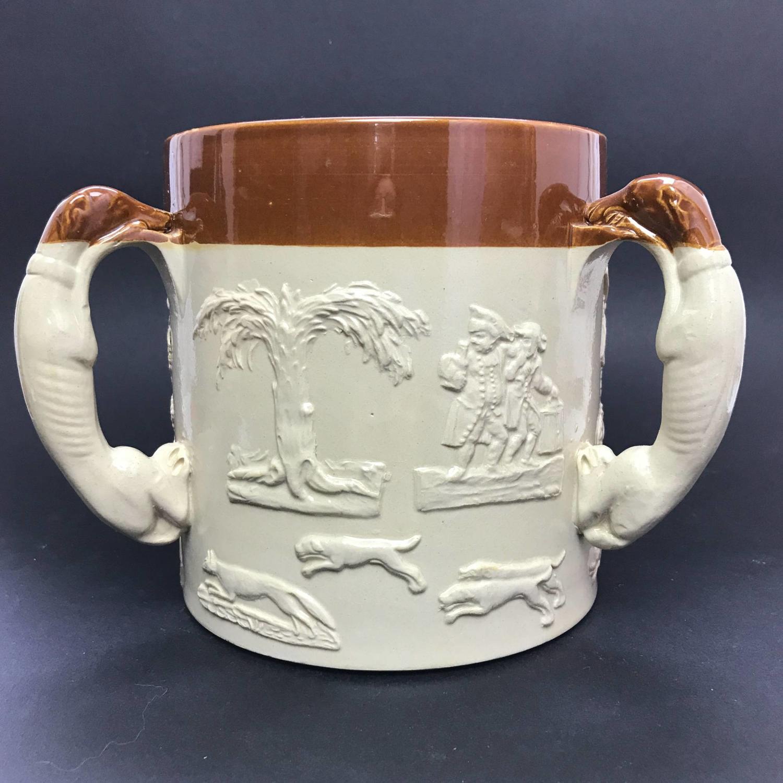 Large Saltglaze Soneware Hunting Tyg  / Loving Cup