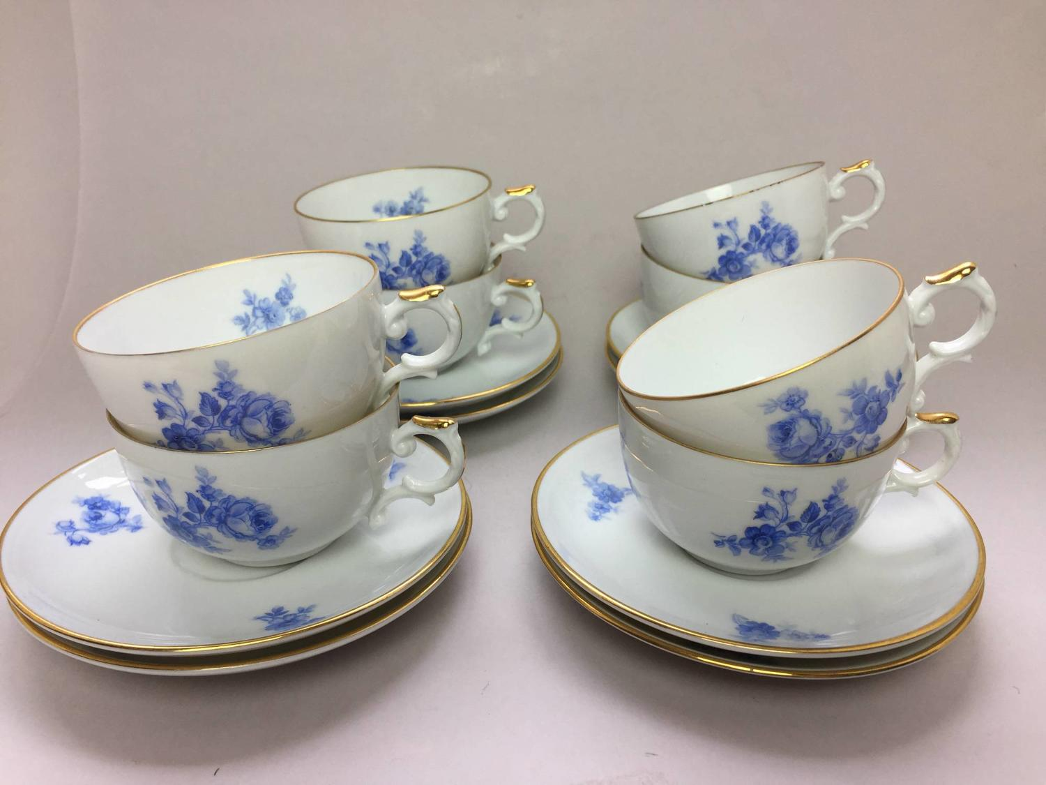 Eight Furstenberg Porcelain Cups & Saucers