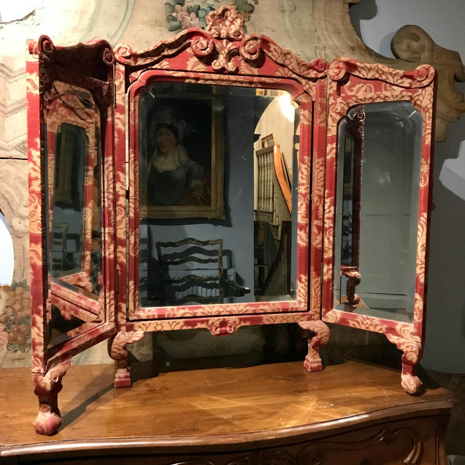 Antique Damask Covered Triptych Dressing Mirror in 17th Century Style