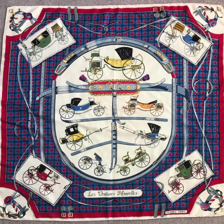 Vintage Hermes Silk Scarf 'Les Voitures Nouvelle'