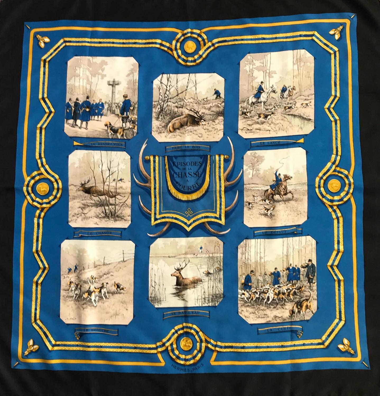 Vintage Hermes Silk Scarf 'Episodes De La Chasse A Courre'
