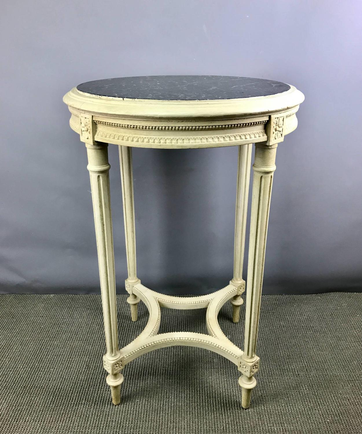 French Painted Gueridon with Inset Marble Top