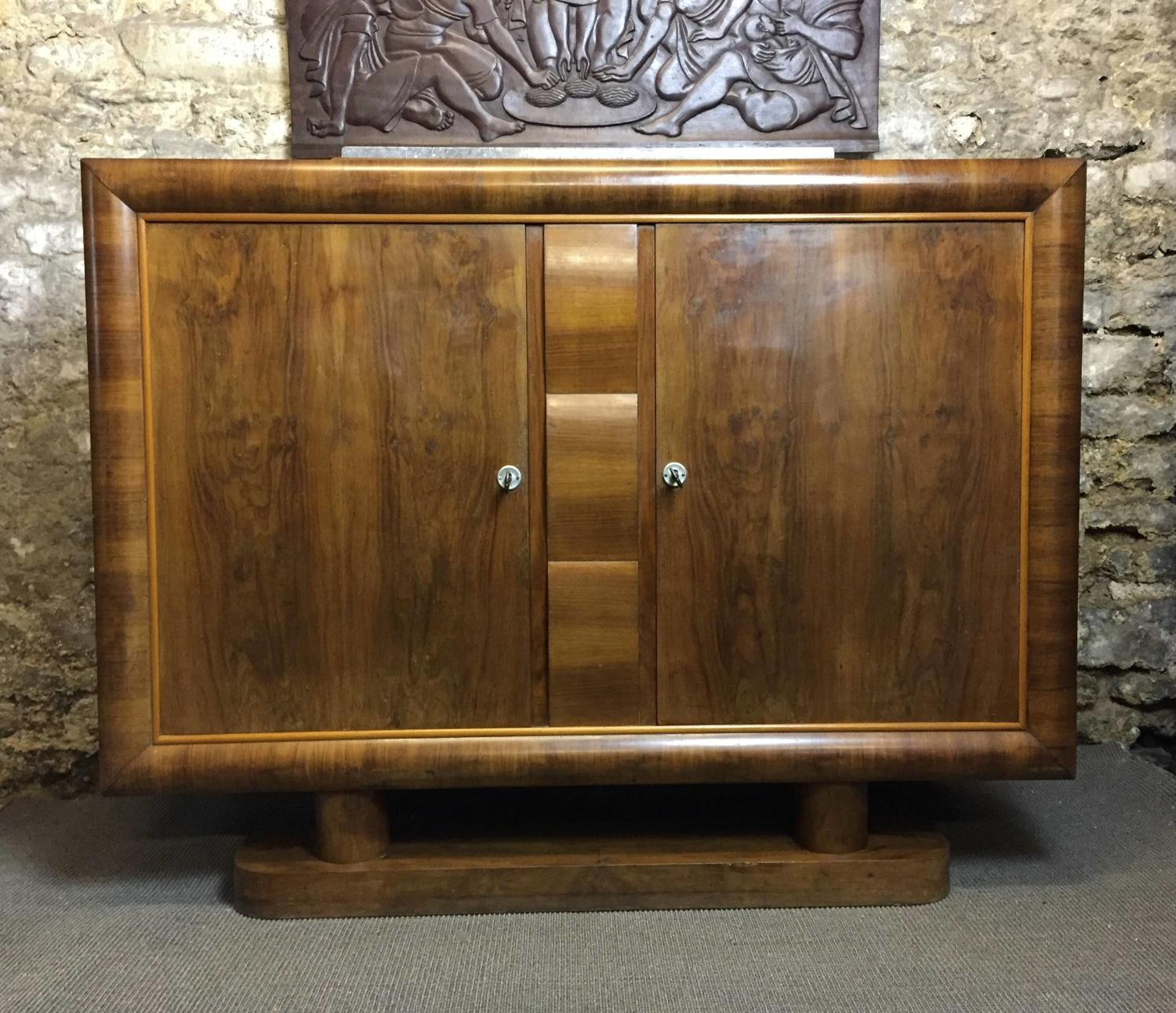 French Art Deco Figured Walnut Buffet