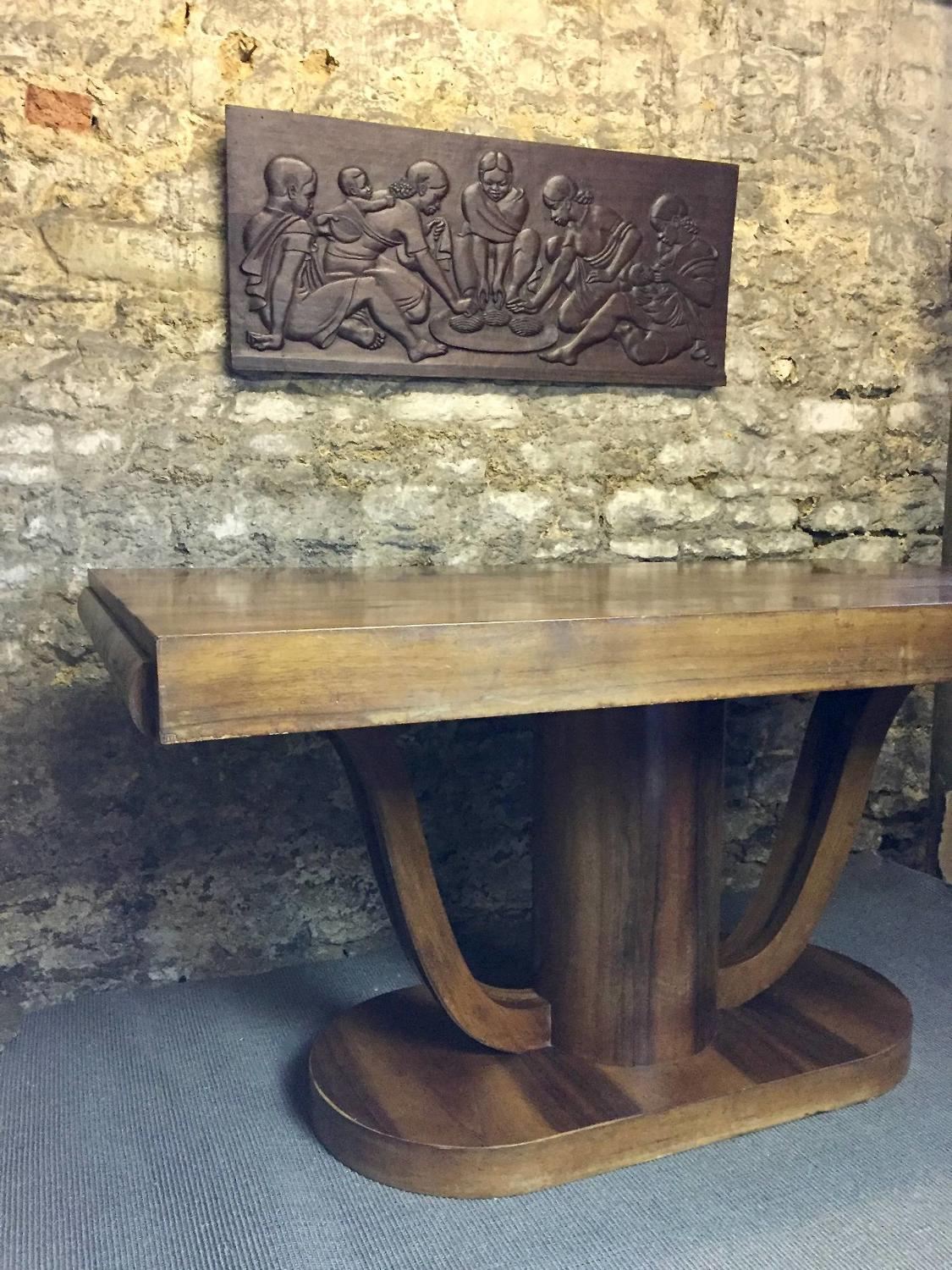French Art Deco Figured Walnut Dining Table
