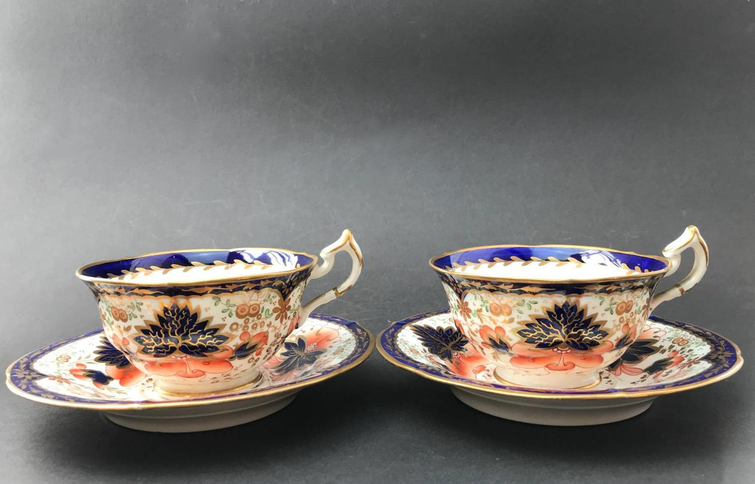 Pair of Staffordshire Porcelain Imari Pattern Tea Cups & Saucers