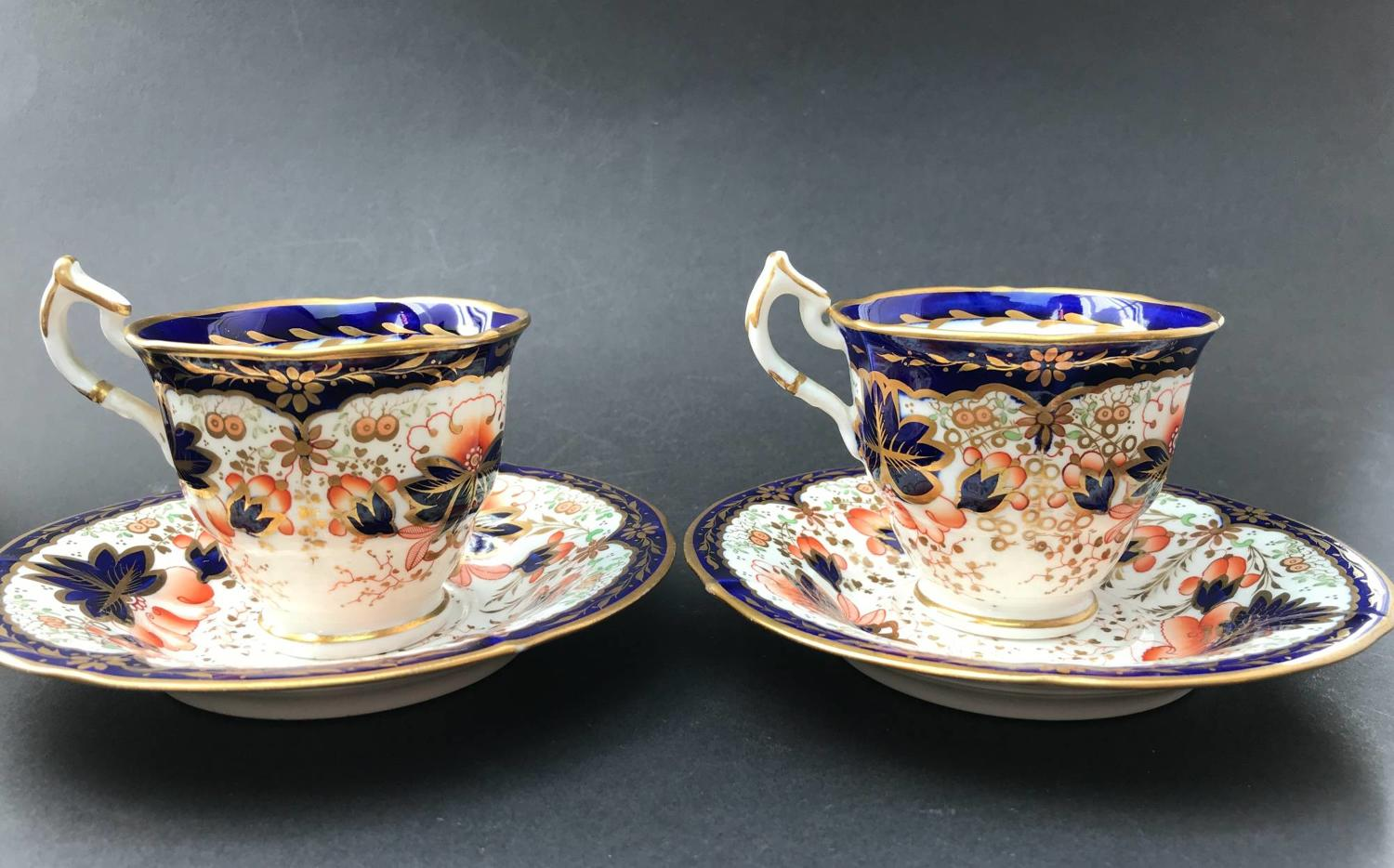 Pair of Staffordshire Porcelain Imari Pattern Coffee Cups & Saucers