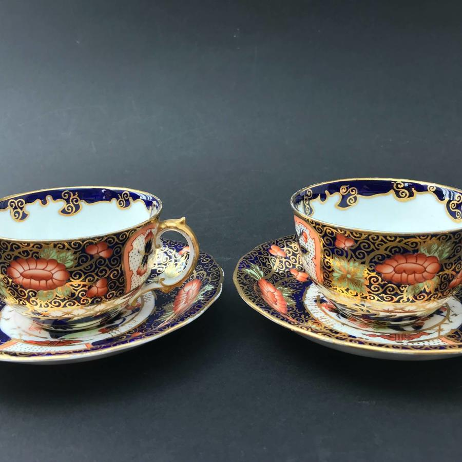 Pair of Royal Crown Derby Imari Pattern Porcelain Cups & Saucers