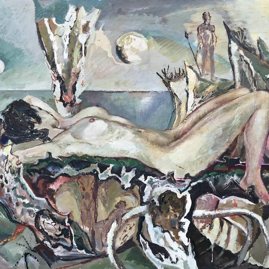 Derrick Latimer Sayer 'Venus Anadynomene' Nude Oil on Board