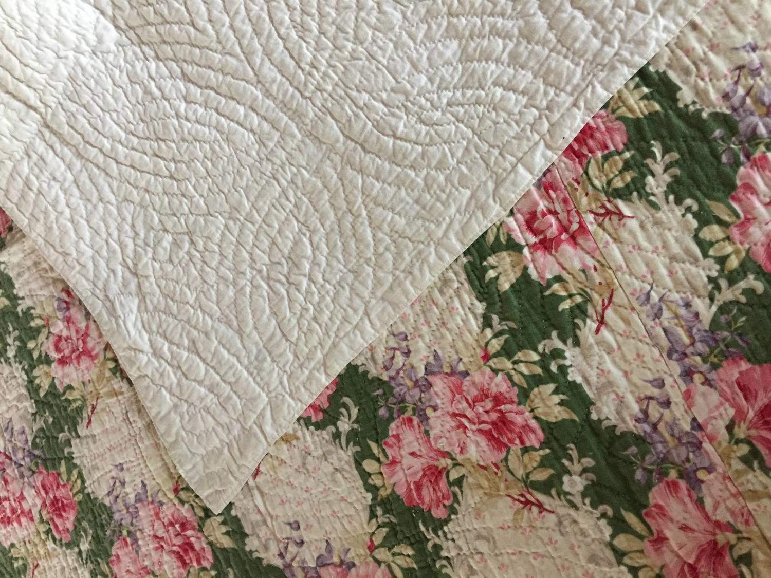 Antique Durham Wholecloth Hand Stitched Quilt