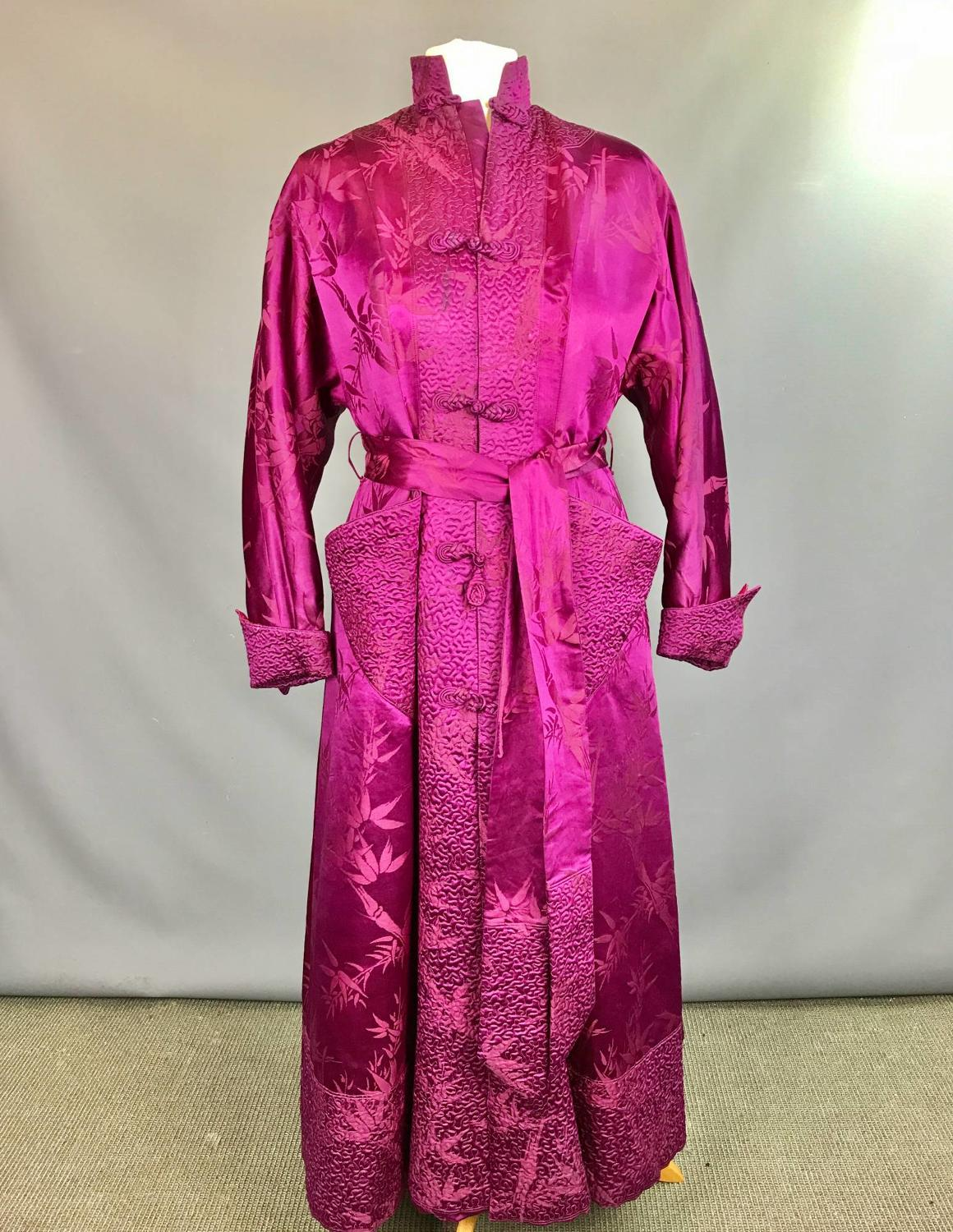 Vintage 1950's Chinese Burgundy Silk Robe