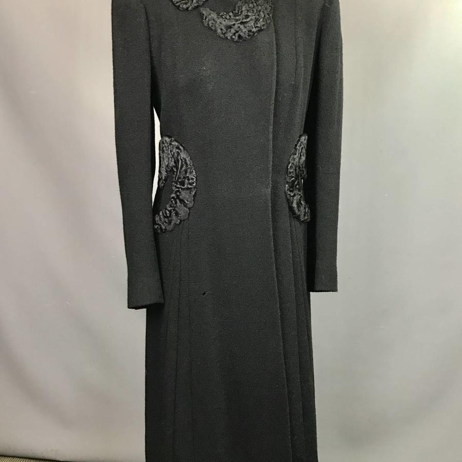 Vintage 1940's Persian Lamb Trimmed Crepe Coat