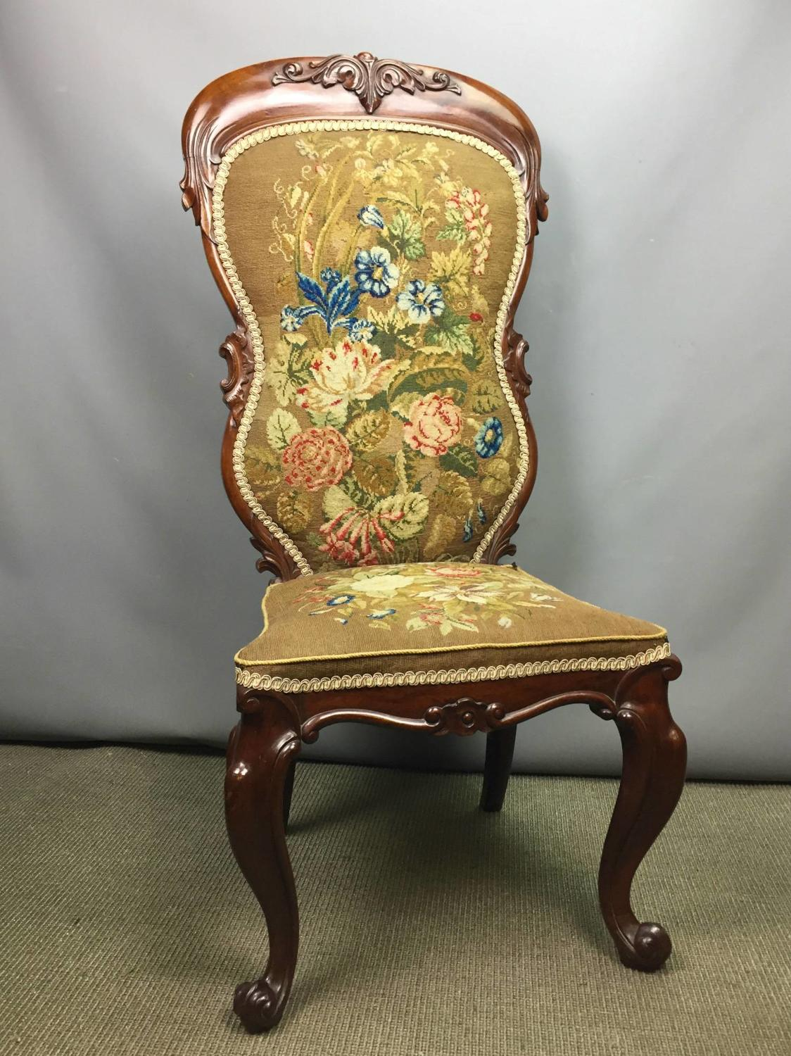 Victorian Woolwork Upholstered Nursing Chair