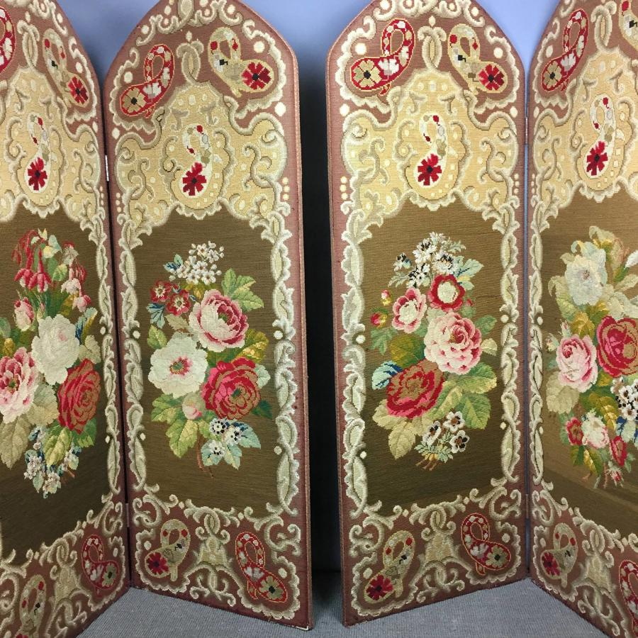 Pair of Victorian Woolwork Screens