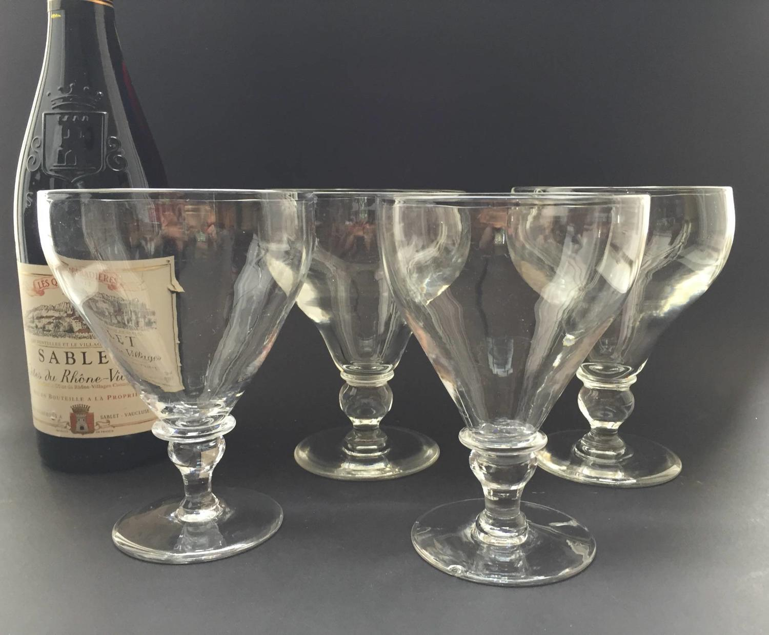 Four Large Georgian Glass Rummers