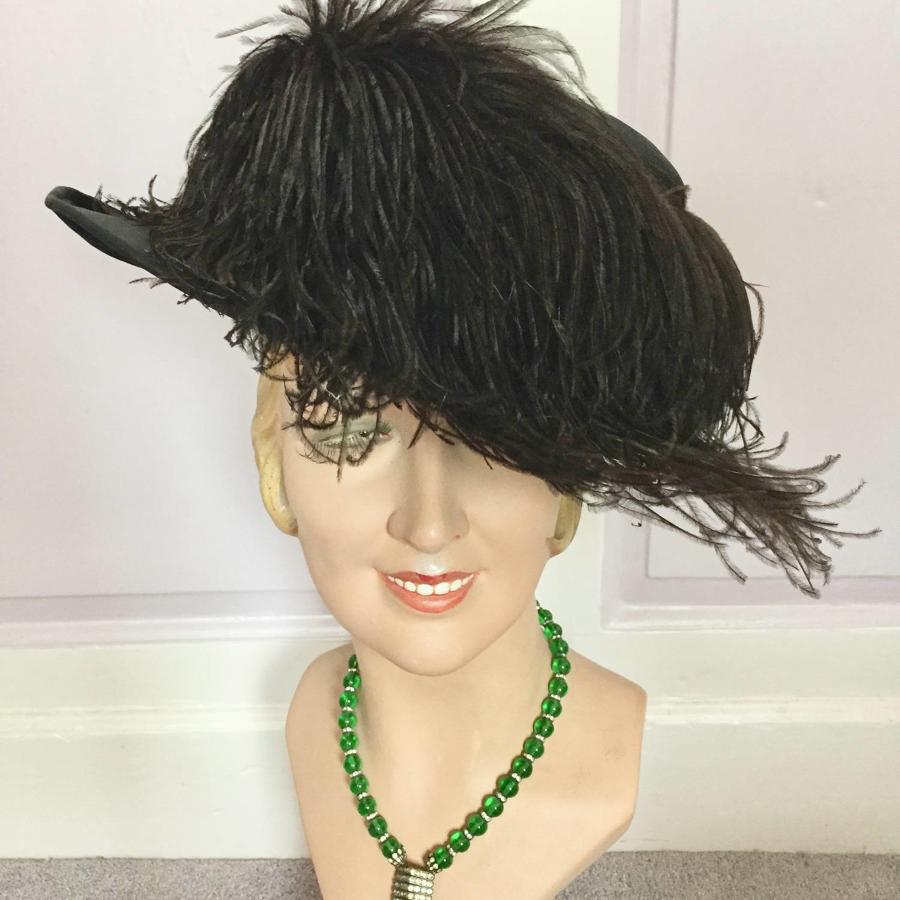 Edwardian Ladies Ostrich Trimmed Picture Hat