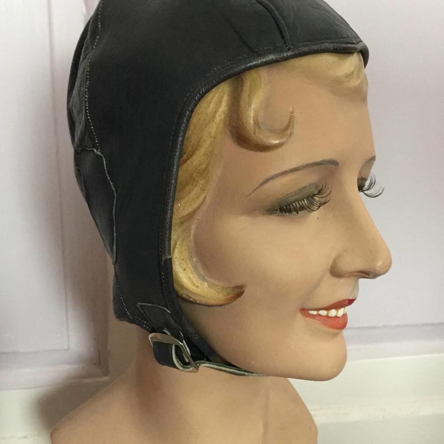 1920's Ladies Leather Flying Cap / Helmet