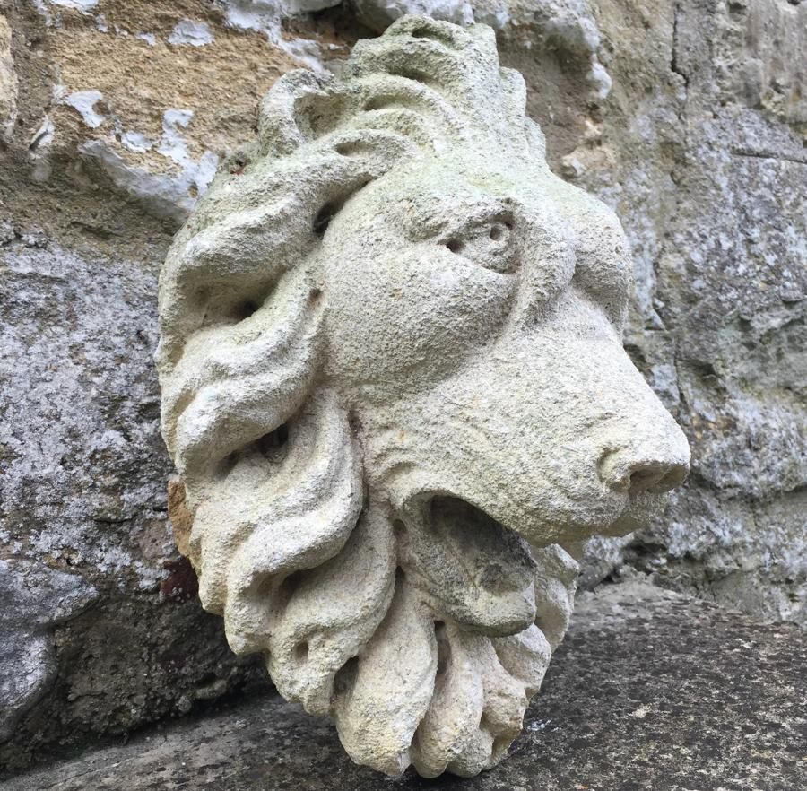 Carved Stone Lion Fountain Head
