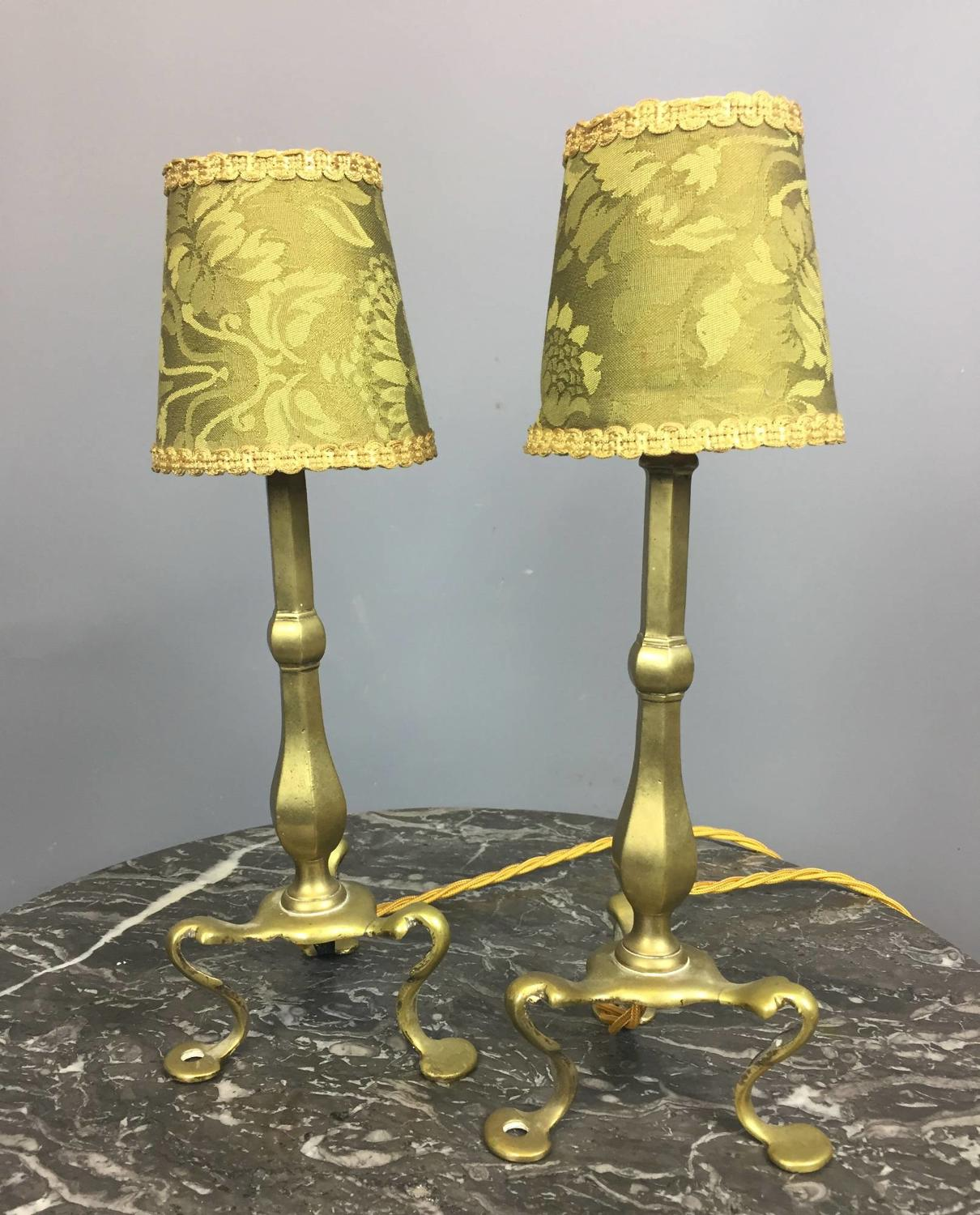 Pair of Edwardian Brass Pullman Lamps