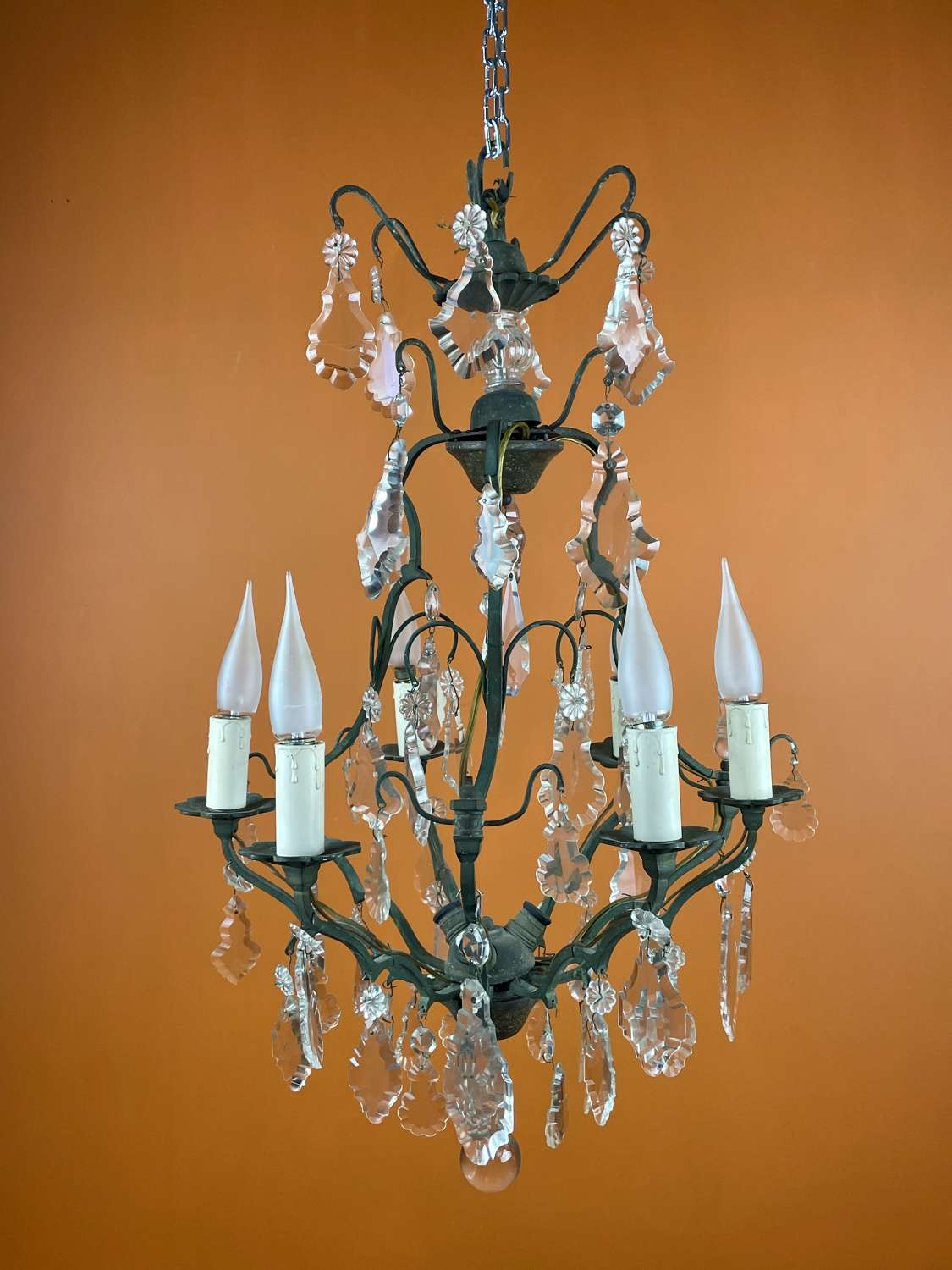 French Cut Glass Cage Chandelier