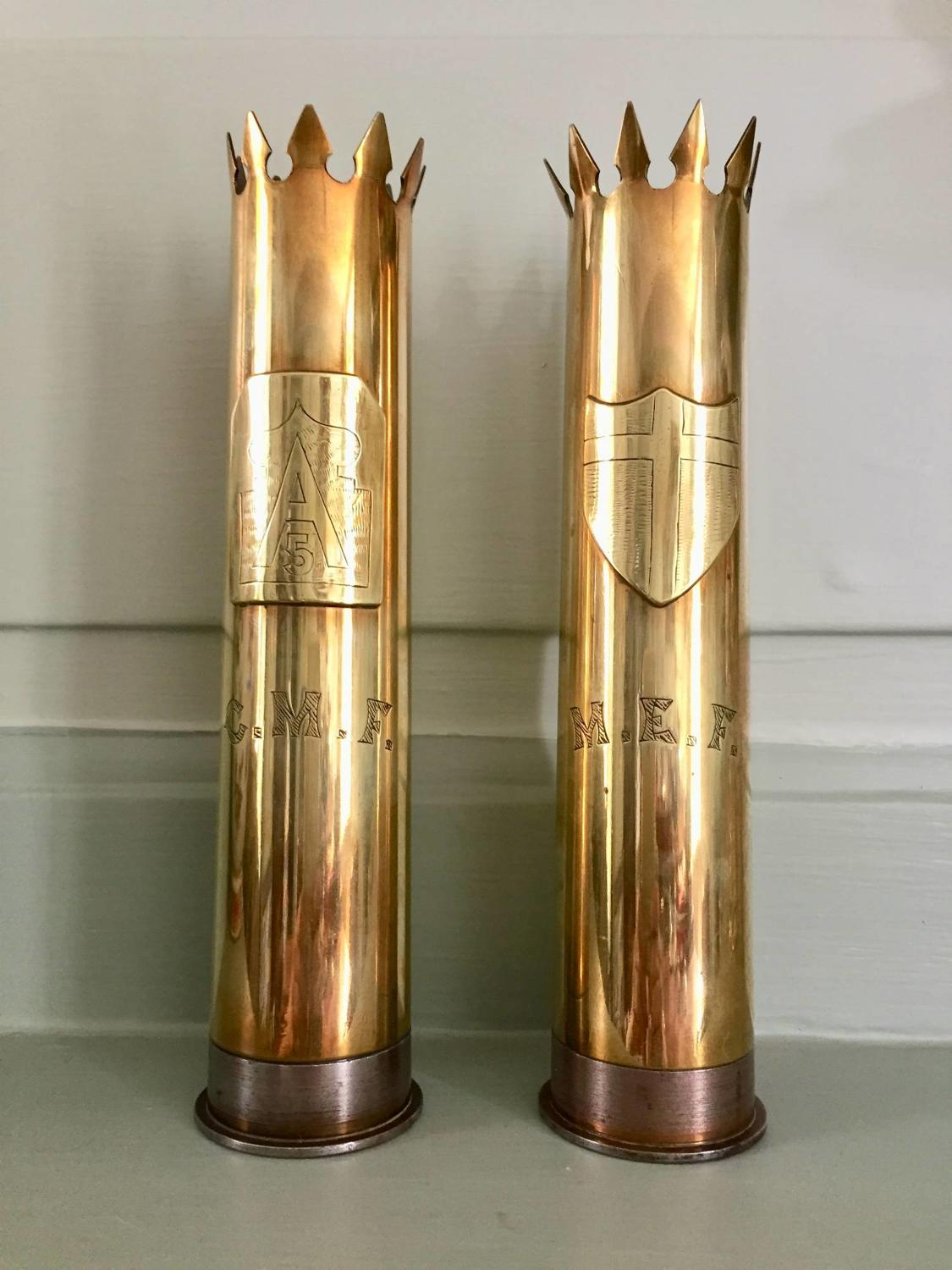 Pair of WWII Trench Art Vases - Fifth U.S. Army