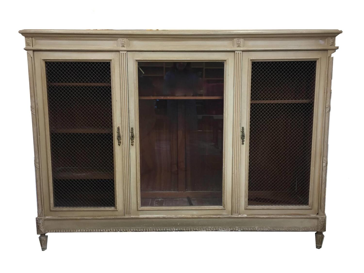 French Louis XVI Style Bookcase / Cabinet