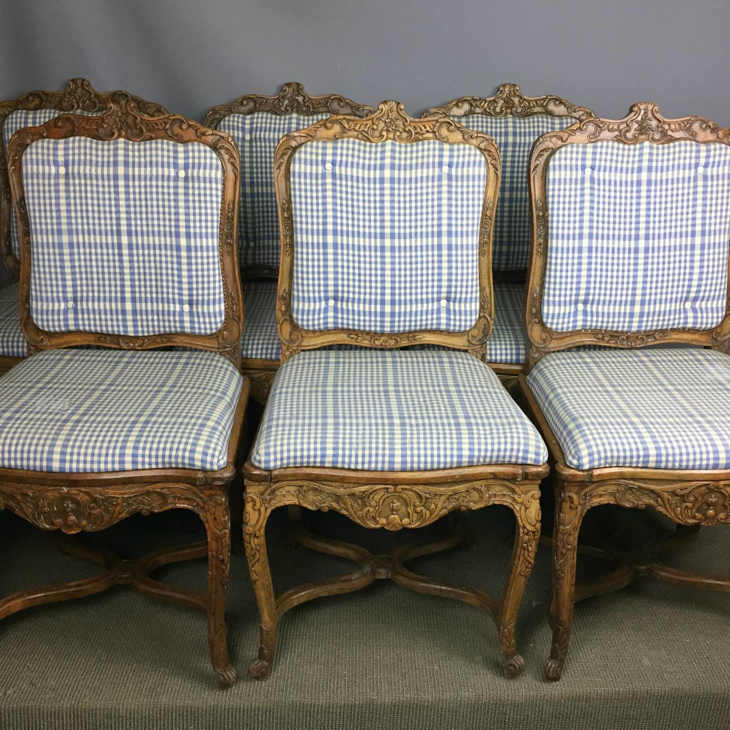 Set of Six Antique French Dining Chairs in Louis XV Style