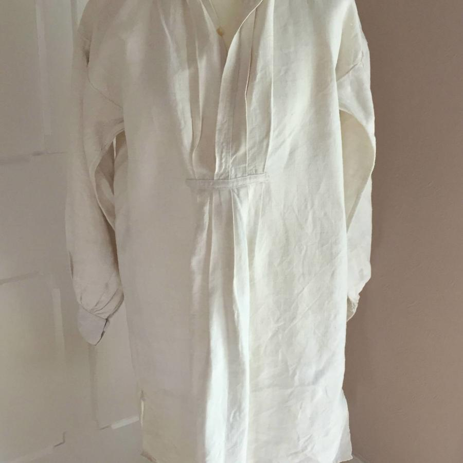 Antique French Homespun Rustic Linen Hemp Smock