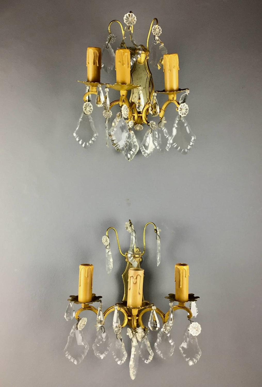 Pair of French Gilt Brass Wall Lights with Cut Glass Lustre Drops