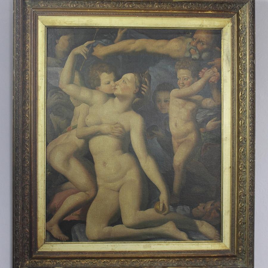 After Bronzino, Allegory with Venus &  Cupid, Oil on Canvas