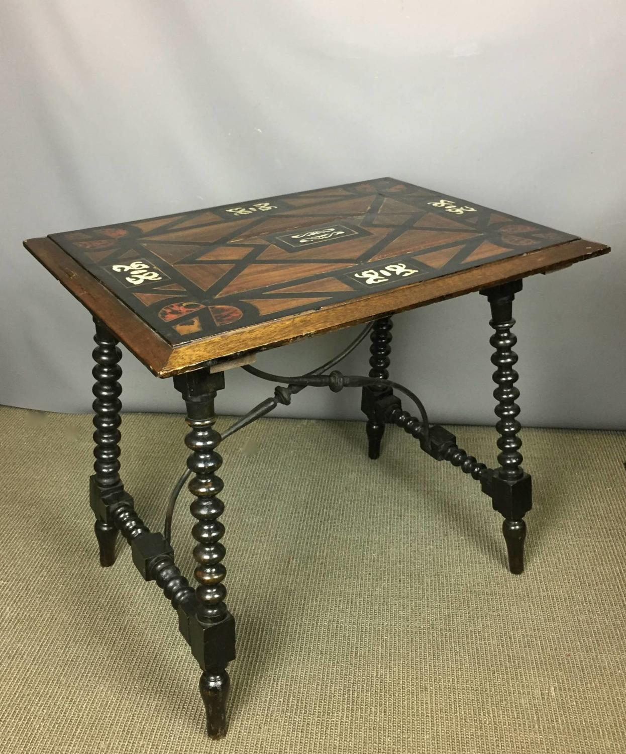 Hispano Moresque Spanish Inlaid Side Table