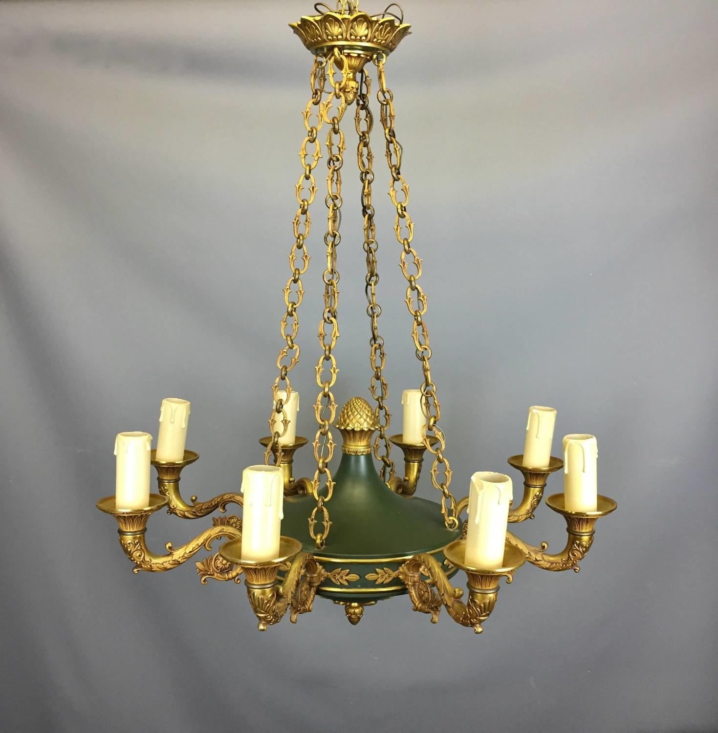 Empire Style Gilt Brass & Toleware Eight Branch Ceiling Light