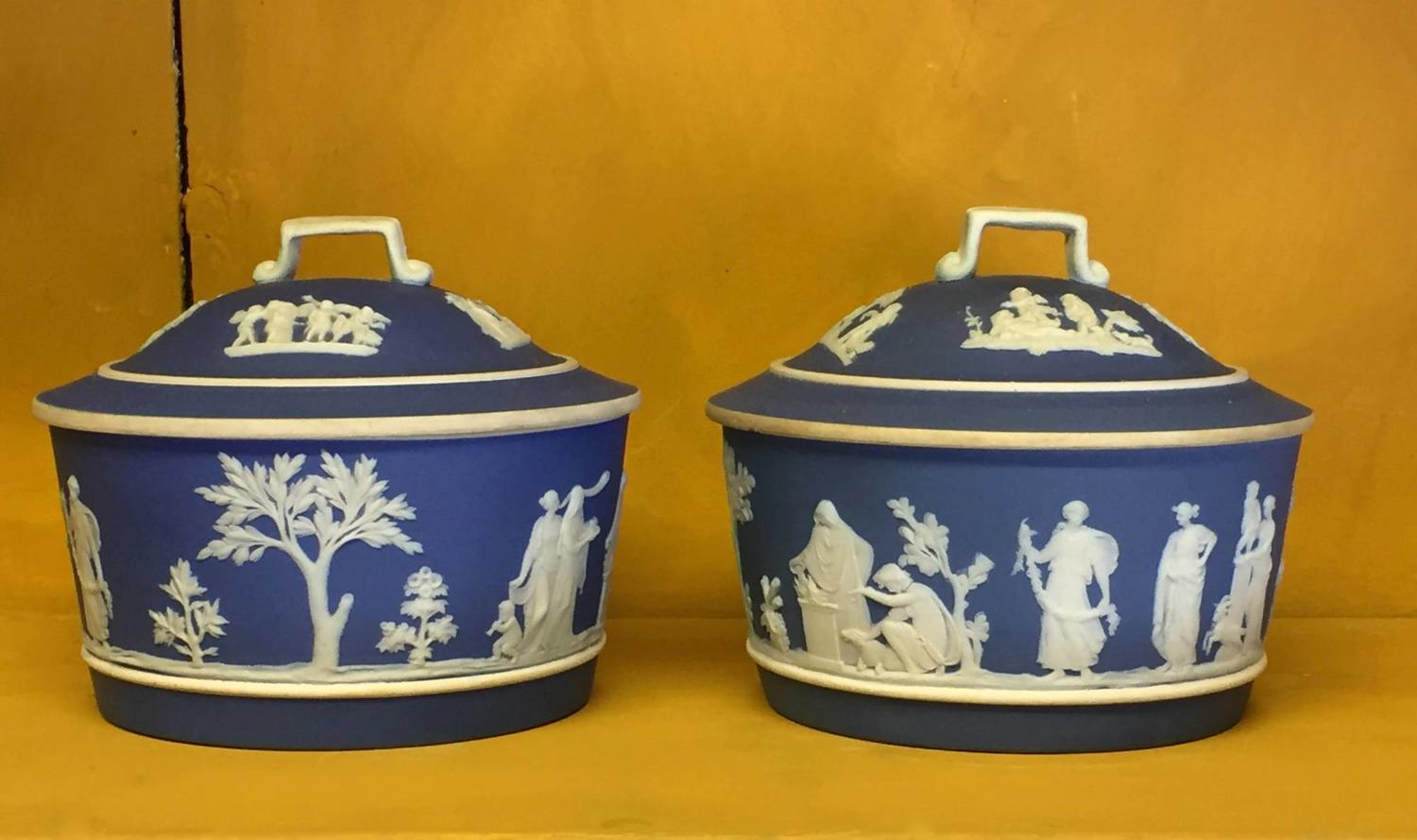 Pair of Wedgwood Blue Jasper Butter Tubs & Covers
